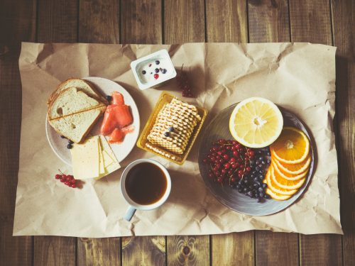 coffee with cheese and snacks